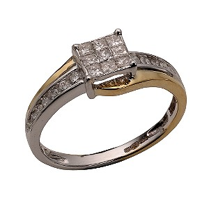 18ct Two-colour Gold 1/2 Carat Princessa Diamond Ring