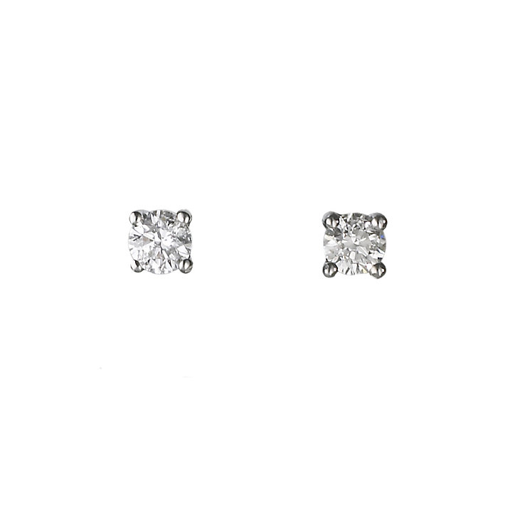 18ct white gold quarter carat diamond solitaire earrings - Product number 5988535