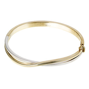 9ct two colour gold crossover wave bangle - Product number 5997984