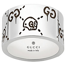 Gucci Ghost Men's Sterling Silver 12mm Skull Ring - Product number 6008666