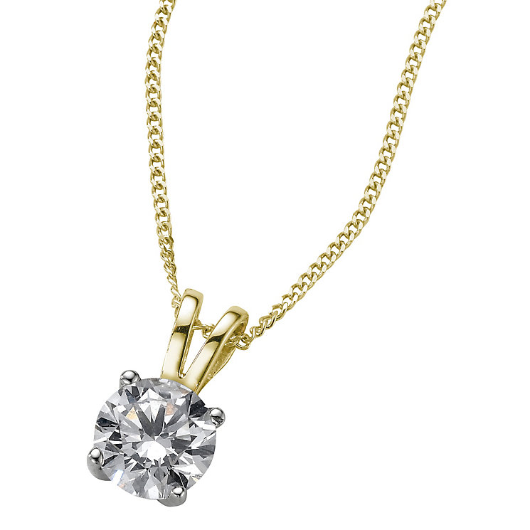 18ct yellow gold 0.66ct G/H SI1 Diamond pendant - Product number 6008755