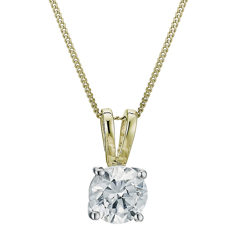 18ct yellow gold 0.75ct G/H SI1 Diamond pendant - Product number 6008771