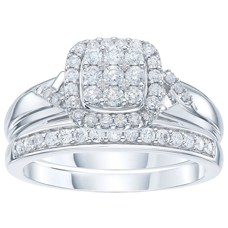9ct White Gold 1/2ct Diamond Perfect Fit Bridal Set - Product number 6009182