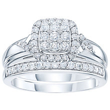 9ct White Gold 1/2 Carat Diamond Cushion Bridal Ring Set - Product number 6009182