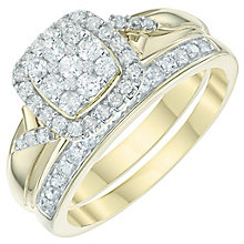 9ct Gold 1/2 Carat Diamond Cushion Bridal Ring Set - Product number 6009379