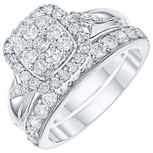 9ct White Gold 1 Carat Diamond Cushion Bridal Ring Set - Product number 6009530