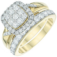 9ct Gold 1 Carat Diamond Cushion Bridal Ring Set - Product number 6009719