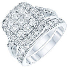 9ct White Gold 1.5 Carat Diamond Cushion Bridal Ring Set - Product number 6009875