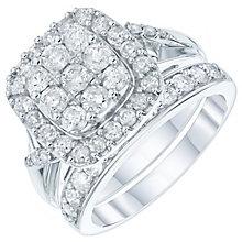 9ct White Gold 1.5 Carat Diamond Cushion Bridal Ring Set - Product number 6009875
