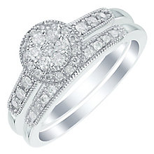 Perfect Fit 9ct White Gold 1/3ct Diamond Round Bridal Set - Product number 6020135