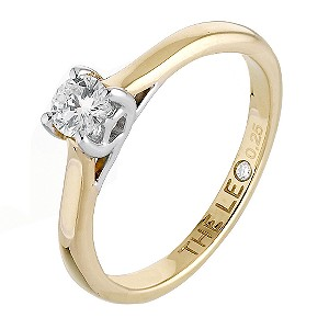 Leo 18ct yellow & white gold 1/4 carat I-SI2 diamond ring - Product number 6021395