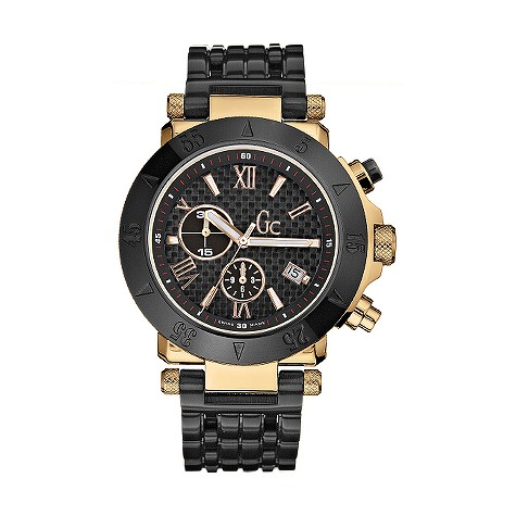 Guess Collection men's black dial ion-plated bracelet watch