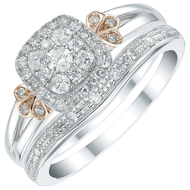 Perfect Fit 9ct White and Rose Gold 2/5ct Diamond Bridal Set - Product number 6023207