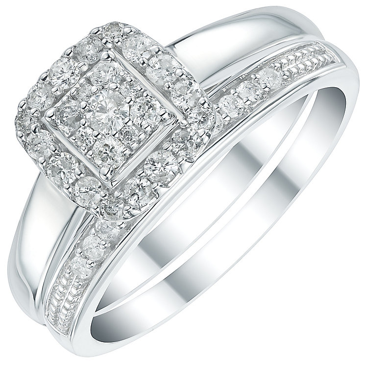 9ct White Gold 1/3ct Diamond Perfect Fit Bridal Set - Product number 6023479