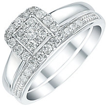 Perfect Fit 9ct White Gold 1/3ct Diamond Cushion Bridal Set - Product number 6023479