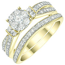 Perfect Fit 9ct Yellow Gold 0.66ct Diamond Round Bridal Set - Product number 6023878