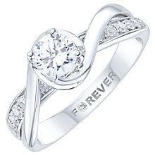 18ct White Gold 1/2ct Diamond Pave Shoulder Solitaire Ring - Product number 6023991