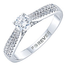 18ct White Gold 1/2ct Diamond Pave Shoulder Solitaire Ring - Product number 6025293