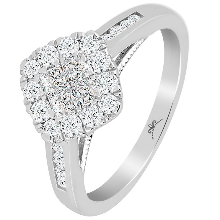 Princessa 9ct White Gold 0.66ct Diamond Cluster Ring - Product number 6027296