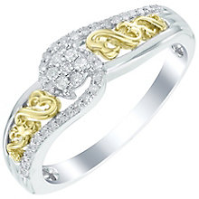 Open Hearts Silver 9ct Yellow Gold 0.10ct Diamond Ring - Product number 6027733