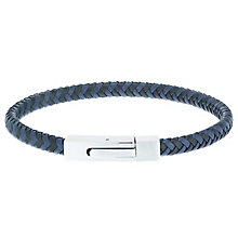 Stainless Steel White Black & Blue Braided Leather Bracelet - Product number 6035086