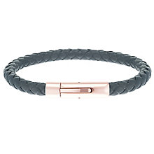 Stainless Steel & Rose Gold Tone Black Leather Bracelet - Product number 6035094