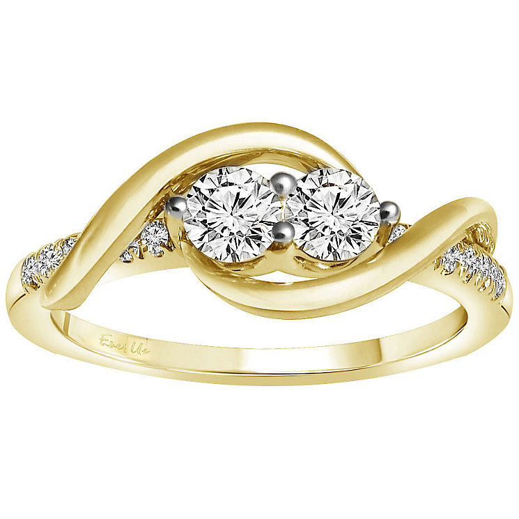 Ever Us 14ct Yellow gold 1/2 carat 2 stone diamond ring - Product number 6035736