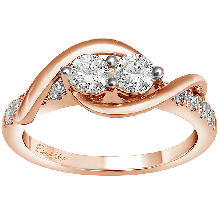 Ever Us 14ct rose gold 3/4ct two stone diamond ring - Product number 6036007