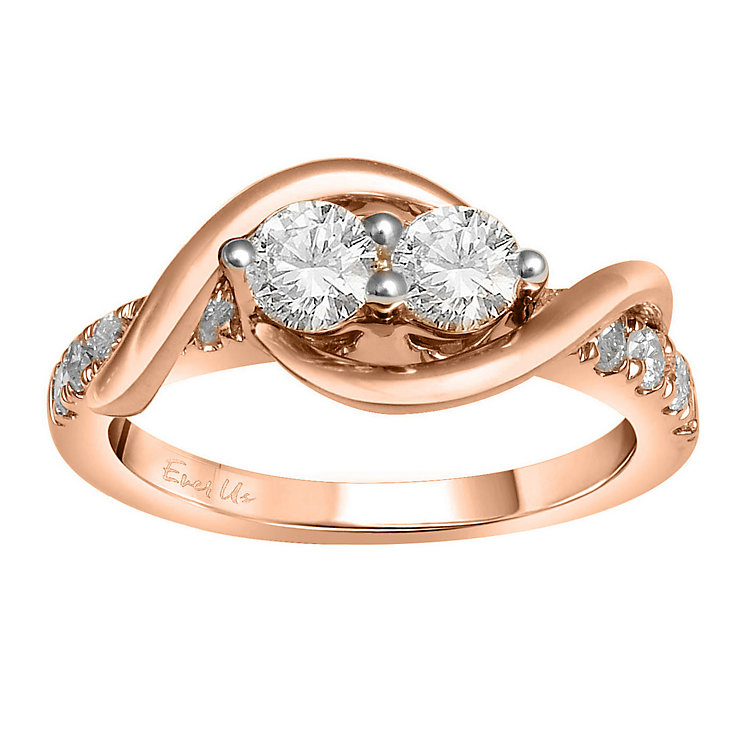 Ever Us 14ct rose gold 1ct two stone diamond ring - Product number 6037062
