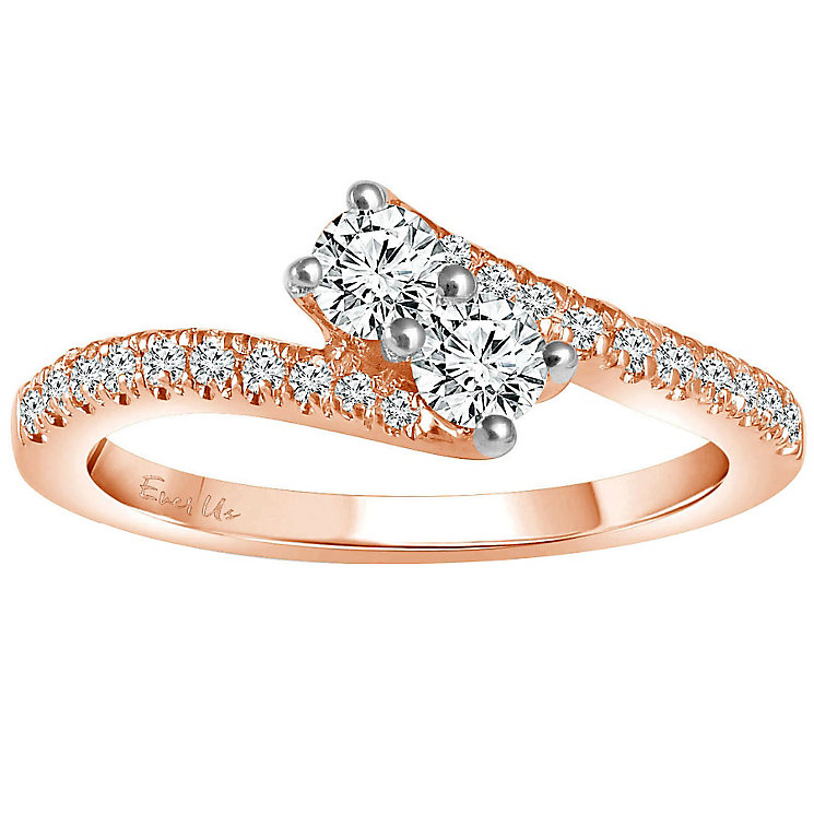 Ever Us 14ct rose gold 1/2 carat two stone diamond ring - Product number 6039022