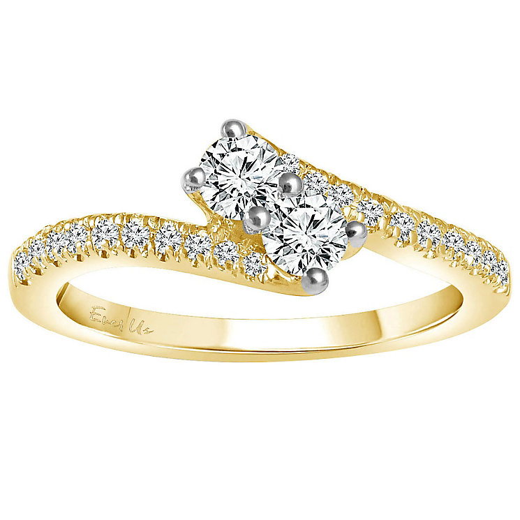 Ever Us 14ct yellow gold 1/2 carat two stone diamond ring - Product number 6039170