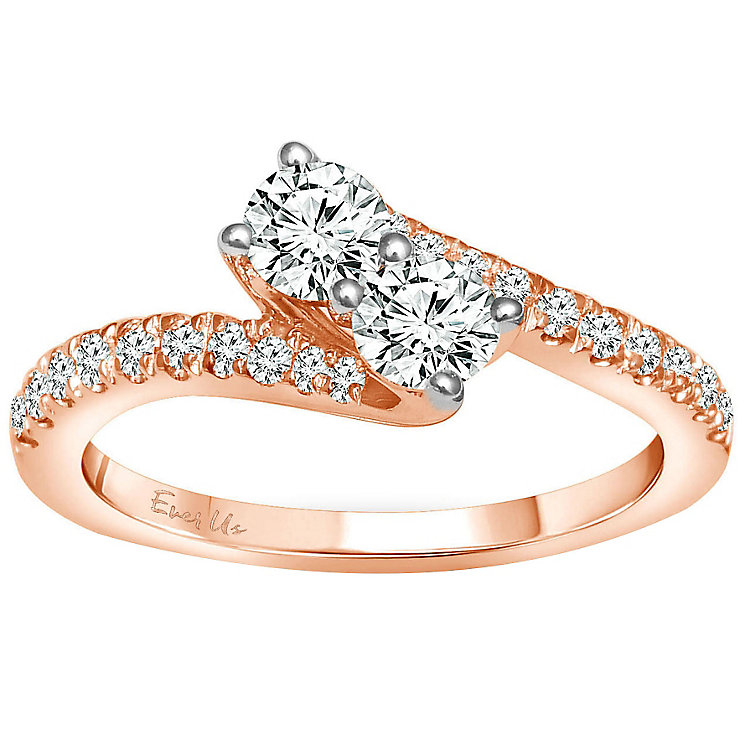 Ever Us 14ct rose gold 3/4 carat two stone diamond ring - Product number 6039383