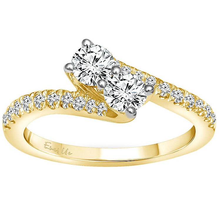 Ever Us 14ct yellow gold 3/4 carat two stone diamond ring - Product number 6039529