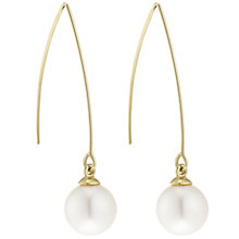 9ct Gold Cultured Freshwater Pearl Long Hook Drop Earrings - Product number 6046266