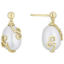 9ct Gold Vine Overlay Cultured Freshwater Pearl Drop Earring - Product number 6046312