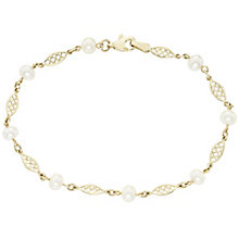 9ct Gold Cultured Freshwater Pearl Filigree Link Bracelet - Product number 6046339