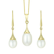 9ct Gold Cultured Freshwater Pearl Pendant & Drop Earrings - Product number 6046479