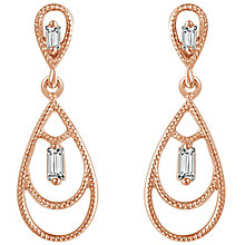 Emmy London 9ct Rose Gold Diamond Set Drop Earrings - Product number 6047823
