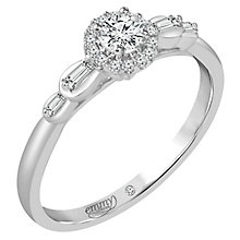 Emmy London 9ct White Gold 1/4 Carat Diamond Halo Ring - Product number 6048242