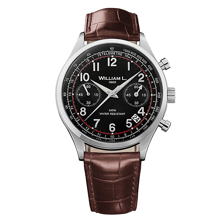 William L Vintage Chronograph Men's Leather Strap Watch - Product number 6050514