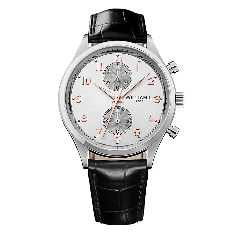 William L Small Chronograph Men's Leather Strap Watch - Product number 6050557