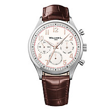 William L Vintage Calendar Men's Brown Leather Strap Watch - Product number 6050603