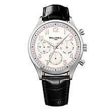 William L Vintage Calendar Men's Black Leather Strap Watch - Product number 6050611