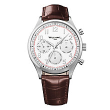 William L Vintage Calendar Men's Brown Leather Strap Watch - Product number 6050638