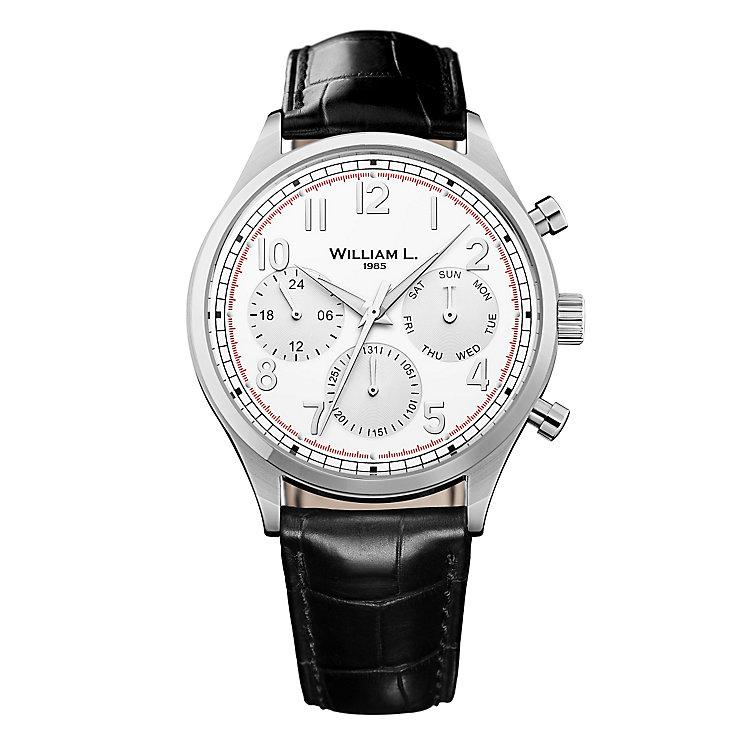 William L Vintage Calendar Men's Black Leather Strap Watch - Product number 6050646