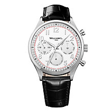 William L Vintage Calendar Men's Black Leather Strap Watch - Product number 6050646