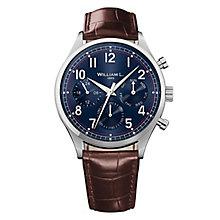 William L Vintage Calendar Men's Brown Leather Strap Watch - Product number 6050662
