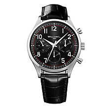 William L Vintage Calendar Men's Black Leather Strap Watch - Product number 6050697