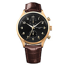 William L Small Chronograph Men's Gold Plated Strap Watch - Product number 6050751