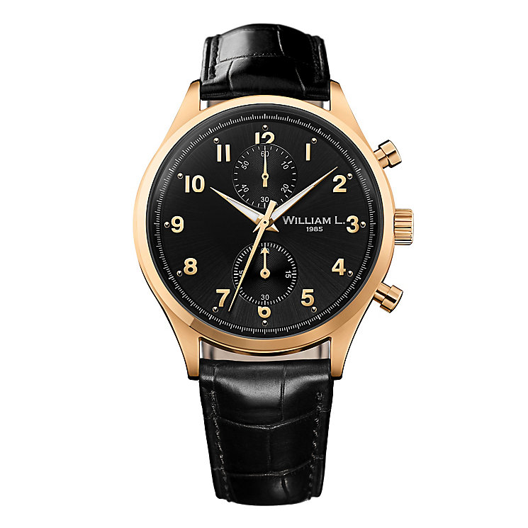 William L Small Chronograph Men's Gold Plated Strap Watch - Product number 6050778